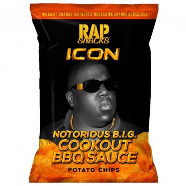 rap icon snacks notorious B.I.G. cookout BBQ sauce potato chips... MHD. 28.7.21, Druckfehler